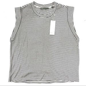 Vince. Size Large Stripe Rolled Sleeve Tank Top